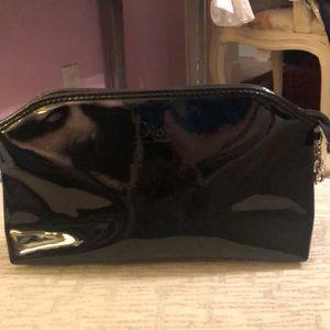 Dior black patent leather makeup bag